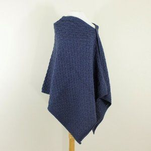 New Ireland Soft Wool 3 Way Poncho Shrug Wrap Blue